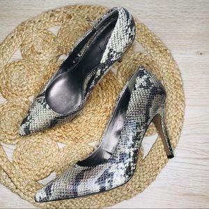 Loft faux Snake Skin Pumps Pointed Toe Heels